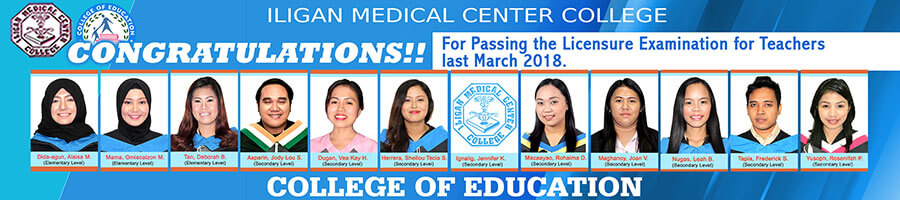 College of Education Passers 2018